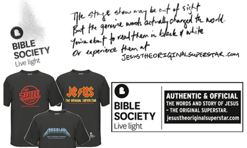 Bible Society Australia gave out free t-shirts and envelopes with Gospels of Matthew outside the openings of Jesus Christ Superstar in Sydney, Brisbane and Melbourne this week.