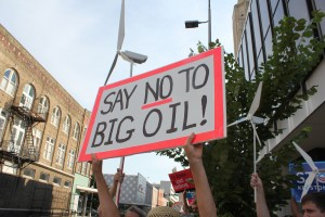 Protestor's Sign saying 'Say No to Big Oil!'