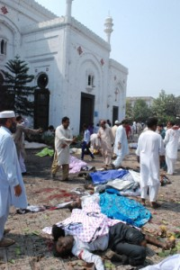 The carnage outside All Saints Church after the bomb blast.