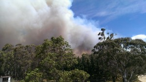 Smoke from the fire at Yanderra