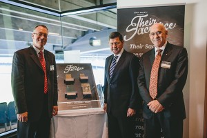 Bible Society CEO Greg Clarke, Defence Minister Kevin Andrews and Bible Society Chairman Richard Grellman