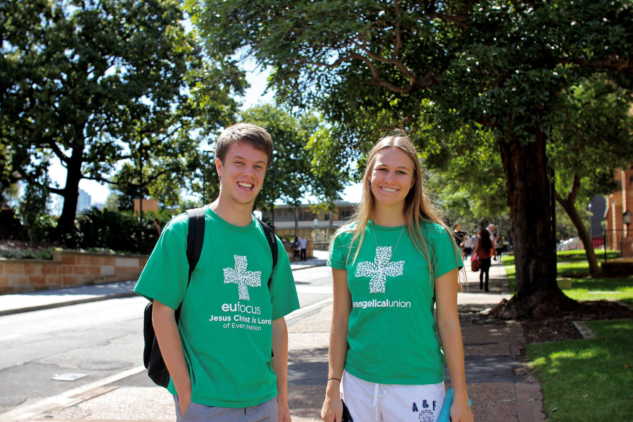 Two students from Sydney University's Evangelical Union