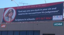 A billboard in Victoria purchased by anti-religion in schools campaigners.