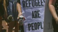 "A protest in Perth ""Refugees are people"""