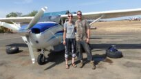 Rob and Tianne prepare to fly to the Didinga hills in South Sudan.