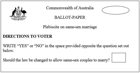 The ballot for the proposed plebiscite