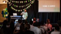 Toby Neal preaches at Vine Church in Surry Hills, Sydney.