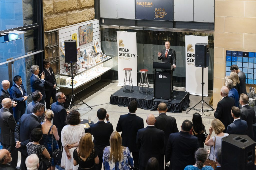 Greg Clarke addresses the crowd at the launch of Bible Society's 200 Stories campaign