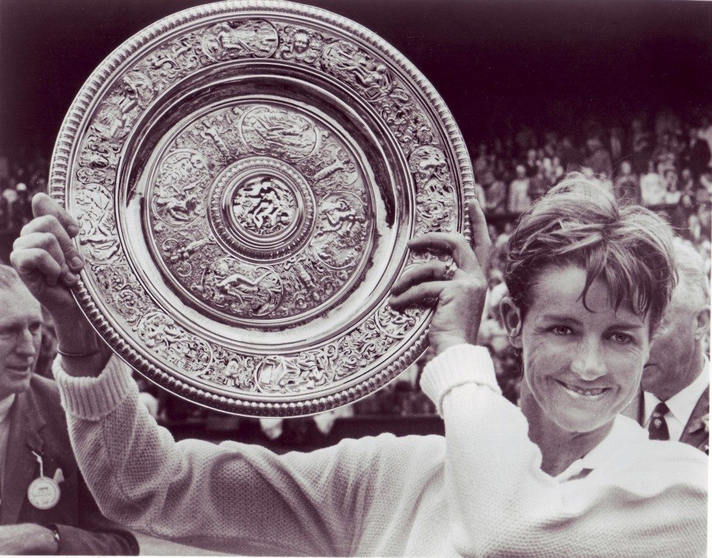 Margaret Court with the Wimbledon trophy