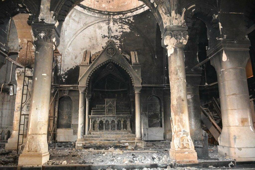 Burnt Interior of Tahira church Qaraqosh, Iraq