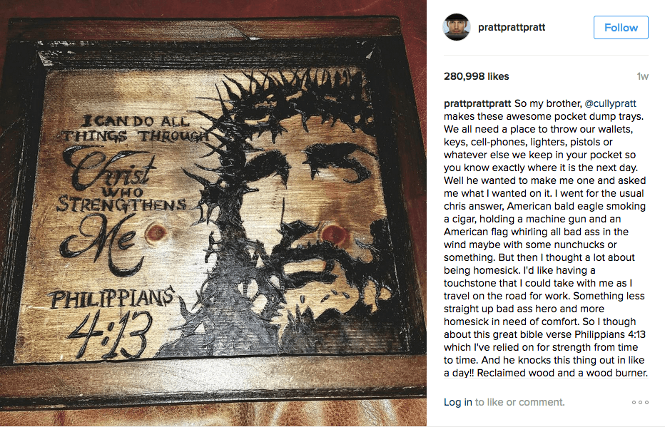 Chris Pratt shows off Phil 4:13 on Instagram
