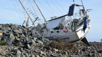 A boat washed ashore after Cyclone Debbie