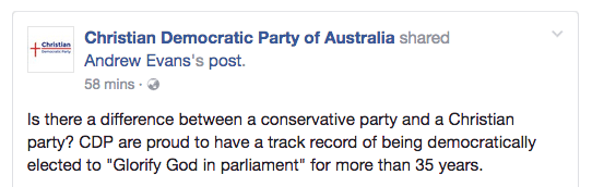 CDP's Facebook post saying they think there's a difference between conservative and Christian
