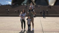 Justin Stephney in Sydney with his wife, Chrissy, and three children.