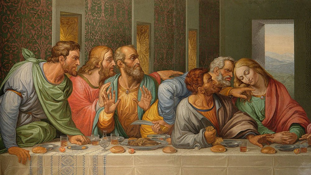 A mosaic copy of detail in Da Vinci's Last Supper.