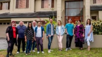 The cast of 'Christians Like Us'. Tiffany, Marty, Assumpta, Steve, Daniel, Steve, Hannah, Chris, Carol, Jo (L to R)
