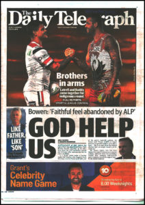 "daily telegraph's ""God help Us"" front page"