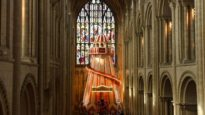 The helter skelter ride installed within Norwich Cathedral.
