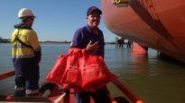 Garry South, Port Hedland chaplain to seafarers, delivers Christmas gift bags.