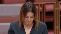 A tearful Senator Jacqui Lambie supports Medevac law repeal.