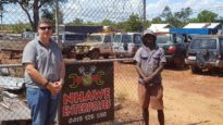 Justin GaraWirtji (right) who co-runs Nhawe Enterprises in East Arnhem – a mechanical, tyre and glass business – with Many Rivers field officer Jarrod Ellis.