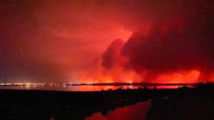 The fire front bears down on Mallacoota