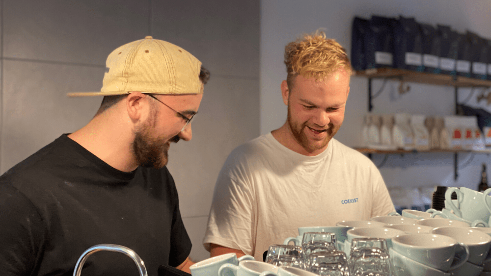 Rowan Van Heeswijk and Jake Burn in their cafe, Harvest