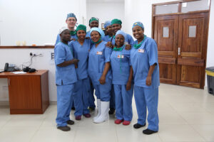 Andrew Browning with theatre team Kivulini Hospital Tanzania