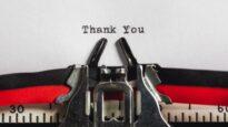 Thank you on typewriter