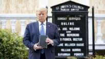 President Trump poses out the front of St John's Episcopal Church for a photo in June 2020.