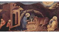 Anbetung der Heiligen Drei Könige, rechte Predellatafel: Geburt Christi by Gentile da Fabriano, 1423.