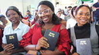 Women with copies of the first Epie New Testament at its launch in Bayelsa State in southern Nigeria. Benjamin Mordi, Bible Society of Nigeria.