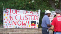 Stop Deaths in Custody Banner, Invasion Day Rally and March, Parliament House, George St, Brisbane, Queensland, Australia 070126. Image: David Jackmanson