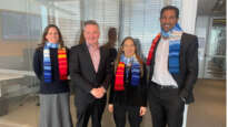 Chris Bowen, Shadow Minister for Climate Change and Energy with climate stripe scarves