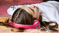 Young female headphones
