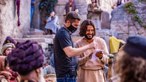 Dallas Jenkins and Jonathan Roumie on the set of the Chosen for Season 2.